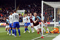 Burnley's Chris Wood wheels away in celebration after scoring the opening goal <br /> <br /> Photographer Rich Linley/CameraSport<br /> <br /> The Premier League - Saturday 13th April 2019 - Burnley v Cardiff City - Turf Moor - Burnley<br /> <br /> World Copyright © 2019 CameraSport. All rights reserved. 43 Linden Ave. Countesthorpe. Leicester. England. LE8 5PG - Tel: +44 (0) 116 277 4147 - admin@camerasport.com - www.camerasport.com