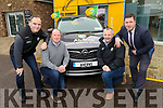 John Griffiin from Caherciveen winner of Kerry GAA car, collecting it in Ahern's Castleisland on Saturday. <br /> Front:  Eamon Whelan, John Griffin, Tom Keane and Pat Ahern.
