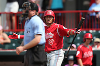 Reading Phillies shortstop Carlos Rivero #12 argues a strikeout call by home plate umpire Joseph Born during a game against the Erie Seawolves at Jerry Uht Park on May 29, 2011 in Erie, Pennsylvania.  Erie defeated Reading 6-5 in ten innings.  Photo By Mike Janes/Four Seam Images