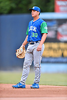 Lexington Legends first baseman Nick Pratto (30) during a game against the Asheville Tourists at McCormick Field on May 25, 2018 in Asheville, North Carolina. The Tourists defeated the Legends 6-4. (Tony Farlow/Four Seam Images)