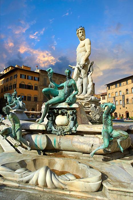 The Fountain of Neptune by Bartolomeo Ammannati (1575),  Piazza della Signoria in Florence, Italy,