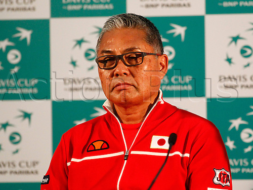 04.03.2016. Barclaycard Arena, Birmingham, England. Davis Cup Tennis World Group First Round. Great Britain versus Japan. Japan's Davis Cup captain Minoru Ueda during his post match press conference after Kei Nishikori beat Dan Evans in straight sets.