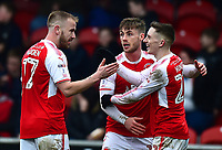 Fleetwood Town's Paddy Madden celebrates scoring his side's first goal with team-mates Conor McAleny and  Ashley Hunter (R)<br /> <br /> Photographer Richard Martin-Roberts/CameraSport<br /> <br /> The EFL Sky Bet League One - Fleetwood Town v Plymouth Argyle - Saturday 10th March 2018 - Highbury Stadium - Fleetwood<br /> <br /> World Copyright &not;&copy; 2018 CameraSport. All rights reserved. 43 Linden Ave. Countesthorpe. Leicester. England. LE8 5PG - Tel: +44 (0) 116 277 4147 - admin@camerasport.com - www.camerasport.com