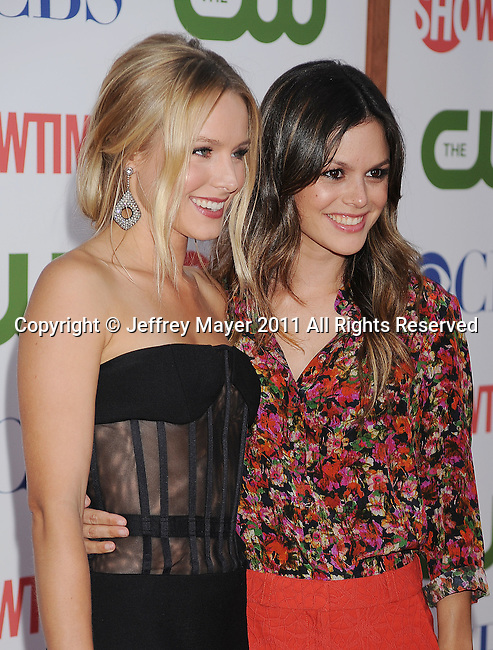 BEVERLY HILLS, CA - AUGUST 03: Kristen Bell and Rachel Bilson arrive at the TCA Party for CBS, The CW and Showtime held at The Pagoda on August 3, 2011 in Beverly Hills, California.