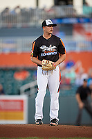 Aberdeen IronBirds starting pitcher Gray Fenter (38) gets ready to deliver a pitch during a game against the Staten Island Yankees on August 23, 2018 at Leidos Field at Ripken Stadium in Aberdeen, Maryland.  Aberdeen defeated Staten Island 6-2.  (Mike Janes/Four Seam Images)