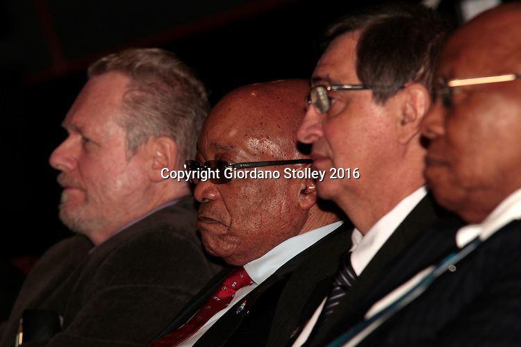 DURBAN - 24 May 2016 - South African president Jacob Zuma (second from left) listens to a presentation during the official launch by Toyota of its new Hilux and Fortuner ranges at its plant in Durban, To the left of Zuma is South Africa's Trade and Industry Minister Rob Davies and to the right of Zuma is Johan van Zyl, chairman of Toyota in South Africa and then Dr Ben Ngubane, South Africa's former ambassador to Japan. Picture: Allied Picture Press (APP)
