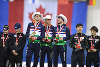 SPEEDSKATING: CALGARY: Olympic Oval, 02-12-2017, ISU World Cup, Podium Team Pursuit, Sven Kramer (NED), Koen Verweij (NED), Jan Blokhuijsen (NED), ©photo Martin de Jong