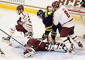 Steven Whitney (BC - 21), Parker Milner (BC - 35), Kyle Singleton (Merrimack - 14), Edwin Shea (BC - 8) - The Boston College Eagles defeated the Merrimack College Warriors 4-2 to give Head Coach Jerry York his 900th collegiate win on Friday, February 17, 2012, at Kelley Rink at Conte Forum in Chestnut Hill, Massachusetts.