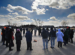 A overview of  the participants at a Association of Native American of the Hudson Valley, sponsored Native American Water Blessing Ceremony held for the Hudson River at Kingston Point Beach in Kingston, NY, on Saturday, March 4, 2017. Photo by Jim Peppler; Copyright Jim Peppler 2017