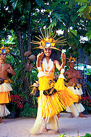 Young people in costumes perform dances of Tahiti at the Polynesian Cultural Center on Oahu