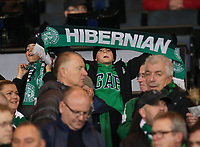 2nd November 2019; Hampden Park, Glasgow, Scotland; Scottish League Cup Football, Hibernian versus Celtic; A young Hibs fan holds up a scarf supporting his side - Editorial Use