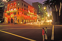 Christmas lights at night in downtown Honolulu