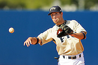 2 March 2008: Florida International shortstop Corey Lozano (1) throws to first in the FIU 8-3 victory over Wagner  at University Park Stadium in Miami, Florida.