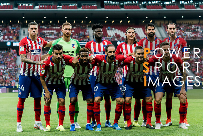 Players of Atletico de Madrid line up and pose for photos prior to their International Champions Cup Europe 2018 match between Atletico de Madrid and FC Internazionale at Wanda Metropolitano on 11 August 2018, in Madrid, Spain. Photo by Diego Souto / Power Sport Images