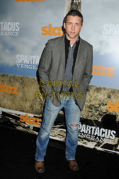 "Brian Hephner.""Spartacus: Vengeance"" Premiere Screening held at Arclight Cinemas, Hollywood, California, USA..January 18th, 2012.full length grey gray suit jacket jeans denim.CAP/ADM/BP.©Byron Purvis/AdMedia/Capital Pictures."