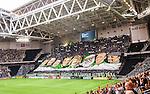 Stockholm 2015-08-24 Fotboll Allsvenskan Djurg&aring;rdens IF - Hammarby IF :  <br /> Hammarbys med en overheadflagga med Hammarbys legendarer inf&ouml;r matchen mellan Djurg&aring;rdens IF och Hammarby IF <br /> (Foto: Kenta J&ouml;nsson) Nyckelord:  Fotboll Allsvenskan Djurg&aring;rden DIF Tele2 Arena Hammarby HIF Bajen supporter fans publik supporters inomhus interi&ouml;r interior