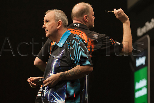 04.02.2016.  First Direct Arena, Leeds, England.  Betway Premier League Night One.  Raymond van Barneveld [NED] in action during his match with Phil Taylor [ENG]