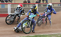 Heat 8: Tom Brennan (yellow), Kelsey Dugard (white) and George Hunter (red)<br /> <br /> Photographer Rob Newell/CameraSport<br /> <br /> National League Speedway - Lakeside Hammers v Eastbourne Eagles - Lee Richardson Memorial Trophy, First Leg - Friday 14th April 2017 - The Arena Essex Raceway - Thurrock, Essex<br /> &copy; CameraSport - 43 Linden Ave. Countesthorpe. Leicester. England. LE8 5PG - Tel: +44 (0) 116 277 4147 - admin@camerasport.com - www.camerasport.com