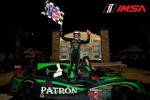 16-19 March, 2016, Sebring, Florida, USA<br /> Winner , 2, Honda HPD, Ligier JS P2, P, Luis Felipe Derani celebrates in victory lane<br /> &copy;2016, Michael L. Levitt<br /> LAT Photo USA
