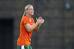 12 September 2013: Miami head coach Mary-Frances Monroe. The Duke University Blue Devils hosted the University of Miami Hurricanes at Koskinen Stadium in Durham, NC in a 2013 NCAA Division I Women's Soccer match. Duke won the game 3-0.