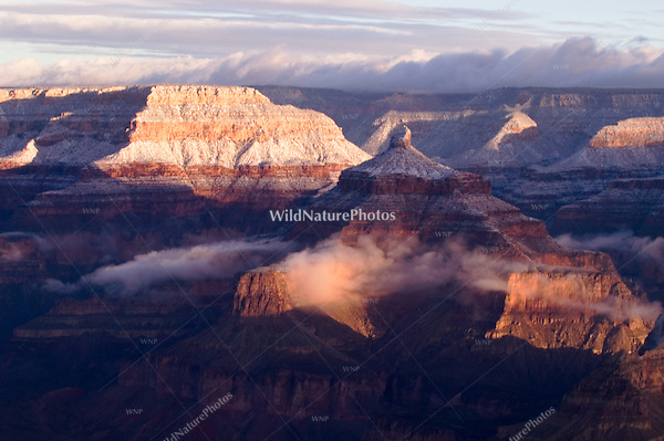 Clouds dissipating at Sunrise over the Grand Canyon, Arizona