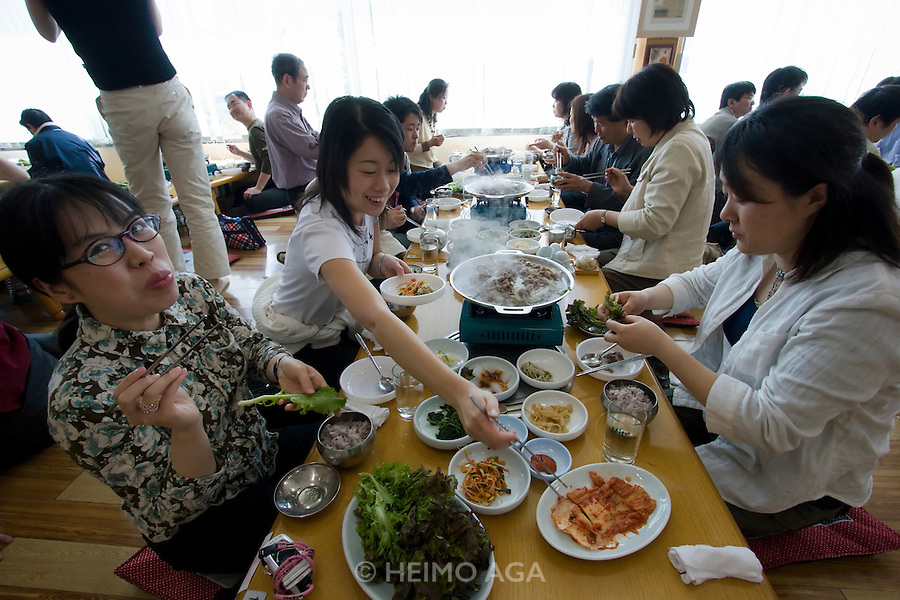 Japanese tour group having a bulgogi lunch after visiting the border to North Korea.