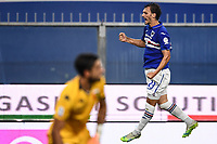 Manolo Gabbiadini of Sampdoria celebrates after scoring the goal of 1-1 during the Serie A football match between UC Sampdoria and Genoa CFC at stadio Marassi in Genova (Italy), July 22th, 2020. Play resumes behind closed doors following the outbreak of the coronavirus disease. <br /> Photo Matteo Gribaudi / Image Sport / Insidefoto