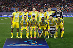 Astana´s initial team players during Champions League soccer match between Atletico de Madrid and FC Astana at Vicente Calderon stadium in Madrid, Spain. October 21, 2015. (ALTERPHOTOS/Victor Blanco)
