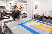 Art and art history professor Linda Lyke works in the printmaking studio of the Weingart Center for the Liberal Arts as she prepares for an upcoming show. May 30, 2019.<br />