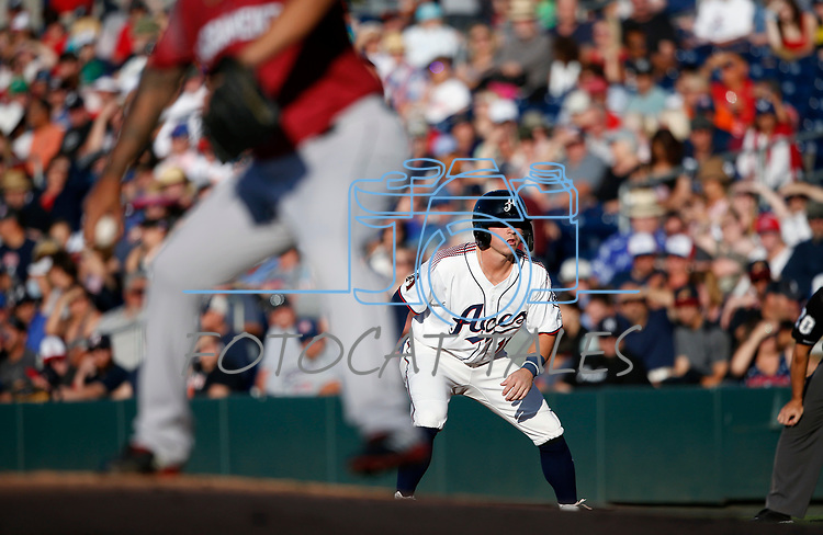 Reno Aces' Andy Young runs the bases against the Sacramento River Cats in Reno, Nev., on Thursday, July 4, 2019.<br /> Photo by Cathleen Allison/Nevada Momentum