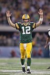 Green Bay Packers quarterback Aaron Rodgers celebrates a touchdown pass during Super Bowl XLV against the Pittsburgh Steelers on Sunday, February 6, 2011, in Arlington, Texas. The Packers won 31-25. (AP Photo/David Stluka)