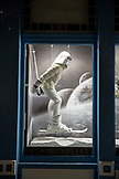 USA, Colorado, Aspen, Moncler storefront window display in downtown Aspen