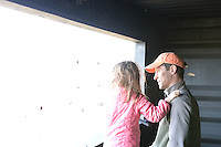 Jed Meunier, Aldo Leopold's great grandson (grandson of Nina Leopold Bradley), visits the crane blind with his family on Saturday at the Aldo Leopold Foundation