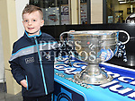 Alex Levins from Grange Rath with the Sam Maguire cup when it visited Southgate Shopping Centre with St Colmcilles GFC. Photo:Colin Bell/pressphotos.ie