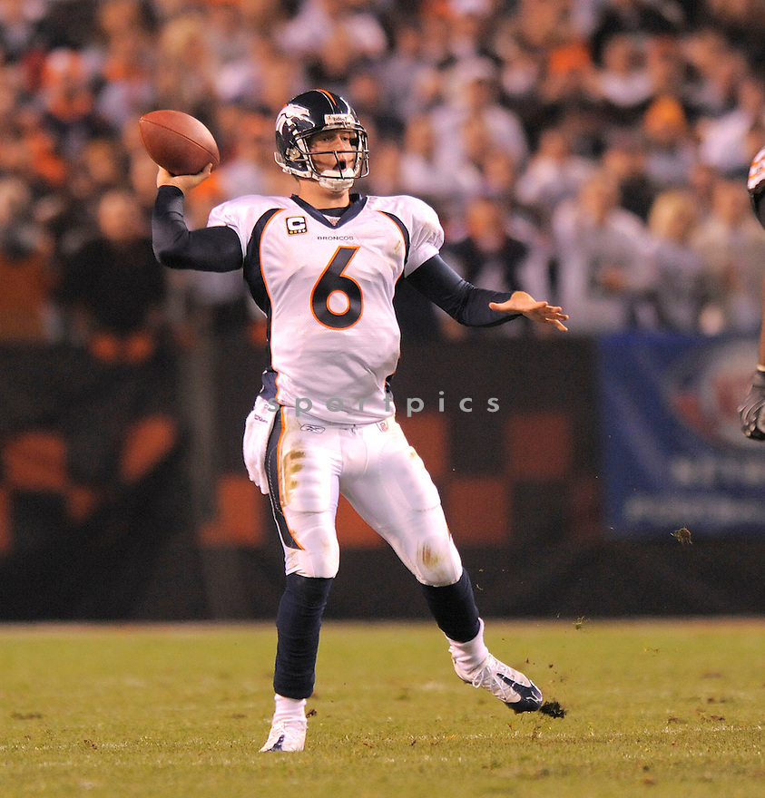 JAY CUTLER, of the Denver Broncos , in action against the Cleveland Browns  during the Broncos game in Cleveland, OH on November 6, 2008. ..Broncos  win 34-30