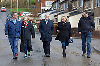 Pictured: Jeremy Corbyn (C) arrives with L-R Mick Antoniw AM, Christina Rees, Shadow Secretary of State for Wales, Maureen Webber, deputy leader for Rhondda Cynon Taff and Carl Thomas deputy mayor for Pontypridd. Thursday 20 February 2020<br /> Re: Jeremy Corbyn, the leader of the Labour Party visits the area of Rhydyfelin near Pontypridd, south Wales, UK.