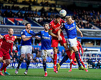 1st February 2020; St Andrews, Birmingham, Midlands, England; English Championship Football, Birmingham City versus Nottingham Forest; Tobias Figueiredo of Nottingham Forest and Kristian Pedersen of Birmingham City compete in the air for the ball