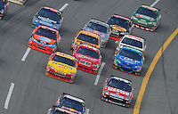 Oct 5, 2008; Talladega, AL, USA; NASCAR Sprint Cup Series driver Carl Edwards (bottom right) races in traffic during the Amp Energy 500 at the Talladega Superspeedway. Mandatory Credit: Mark J. Rebilas-