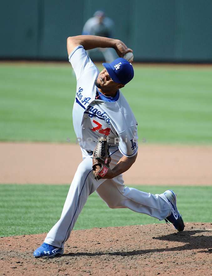 Los Angeles Dodgers Kenley Jansen (74)  during a game against the Baltimore Orioles on April 21, 2013 at Oriole Park in Baltimore, MD. The Dodgers beat the Orioles 7-4.