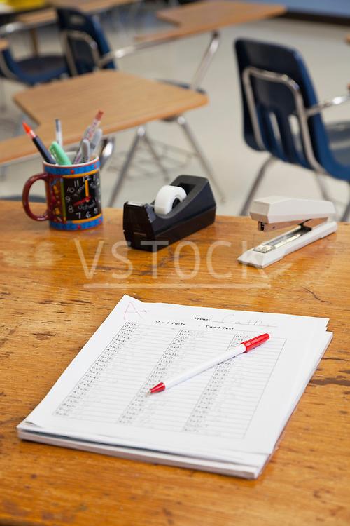 USA, Illinois, Metamora, Stationery on teachers desk in classroom