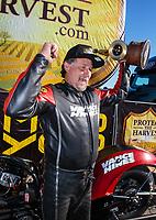 Feb 11, 2019; Pomona, CA, USA; NHRA top fuel nitro Harley Davidson motorcycle rider Doug Vancil celebrates after winning the Winternationals at Auto Club Raceway at Pomona. Mandatory Credit: Mark J. Rebilas-USA TODAY Sports