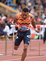 Orlando Ortega of Spain dips for the line to win the Men's 110m Hurdles Final during the Muller Grand Prix  IAAF Diamond League meeting at Alexander Stadium, Perry Barr, Birmingham.<br /> Picture by Alan Stanford +44 7915 056117<br /> 18/08/2018