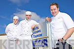 CELEBRITY CHEF: Celebrity TV chef Neven McGuire paid a visit to ITT Hotel, Catering and Tourism dept. on Monday to show students his skilss. Pictured with Neven are students Barry Connelly and Garreth O'Donnell and ITT lecturer TJ O'Connor.