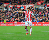 4th November 2017, bet365 Stadium, Stoke-on-Trent, England; EPL Premier League football, Stoke City versus Leicester City; Joe Allen of Stoke City tries to conduct proceedings