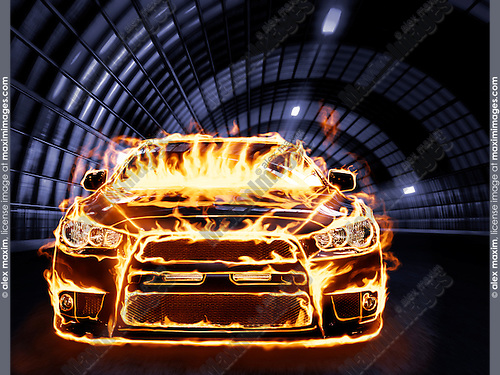 Covered with flames sports car racing along a tunnel