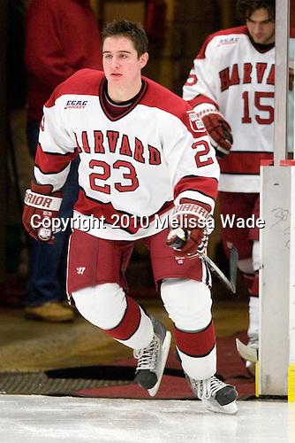 Matt McCollem (Harvard - 23) - The Princeton University Tigers defeated the Harvard University Crimson 2-1 on Friday, January 29, 2010, at Bright Hockey Center in Cambridge, Massachusetts.