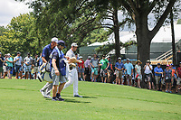 Jon Rahm (ESP) and Matt Kuchar (USA) depart the 9th tee during Saturday's round 3 of the PGA Championship at the Quail Hollow Club in Charlotte, North Carolina. 8/12/2017.<br /> Picture: Golffile | Ken Murray<br /> <br /> <br /> All photo usage must carry mandatory copyright credit (&copy; Golffile | Ken Murray)