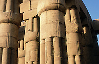 Unusual columns at the Temple of Luxor. This temple was built by Amenhotep III (r. 1390 to 1352 BC), the Pharoah who reigned over Egypt's most powerful and influential period.