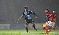 Anthony Stewart of Wycombe Wanderers clears the ball during the Sky Bet League 2 match between Wycombe Wanderers and Morecambe at Adams Park, High Wycombe, England on 2 January 2016. Photo by Andy Rowland / PRiME Media Images