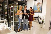 Janet Kim, Will Ayers and Debbie Kim attend the WILLIAM Sample Sale at Brigade LA on October 25, 2014